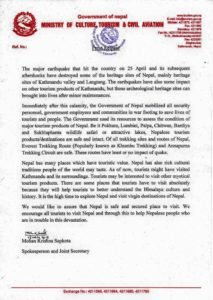 Request after Earthquake 2015 from Nepalese Tourism Board