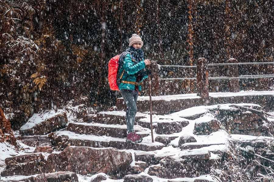 Female Travelers Trekking to Langtang Valley