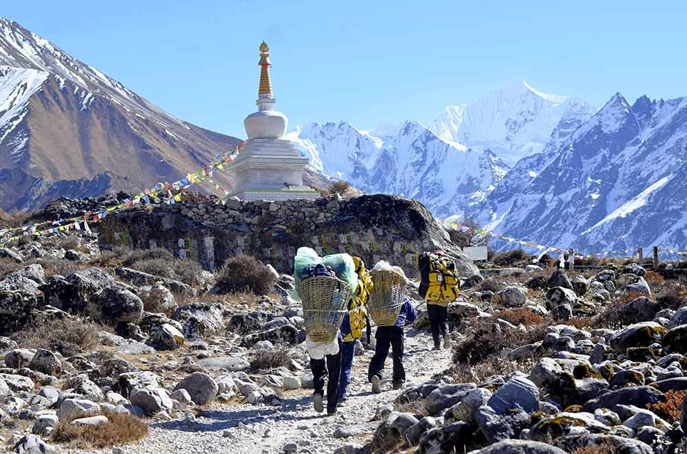 Guide and Porter Visiting Langtang Valley