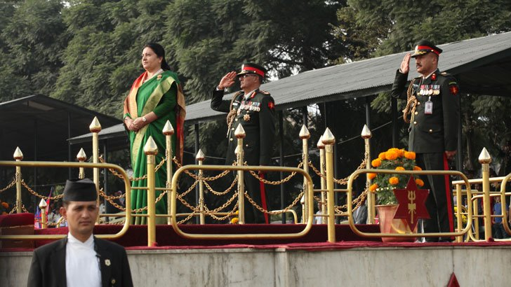 Fulpati Parade observed by the President during Dashain Festival in Nepal