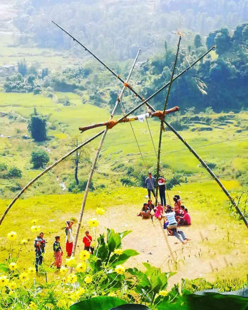 People playing Swing during Dashain Festival in Nepal