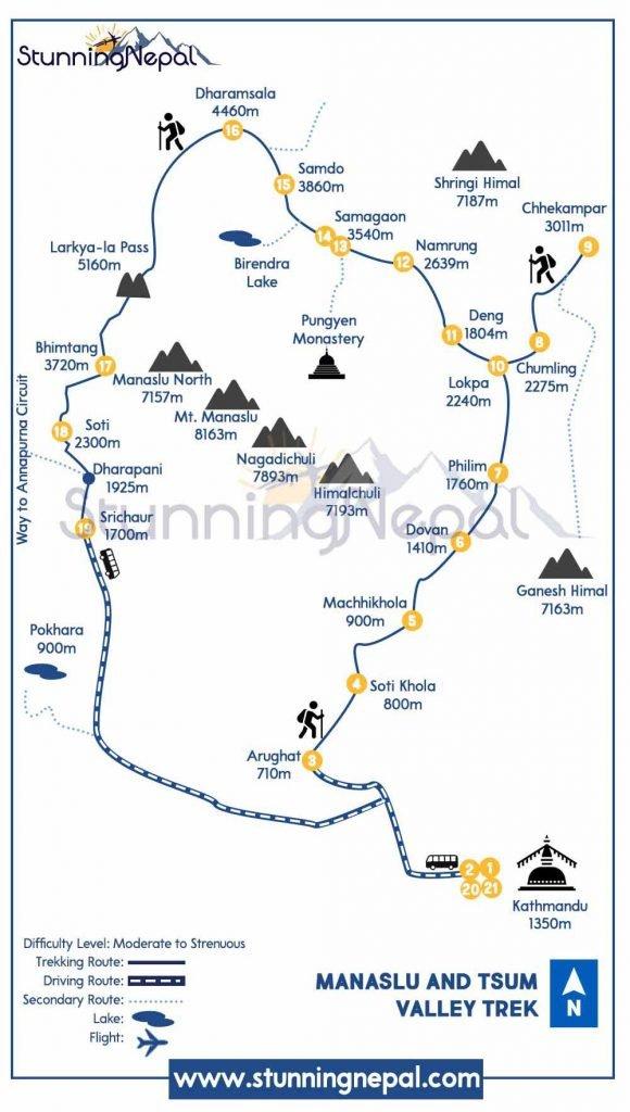 Manaslu and Tsum Valley Trekking Route Map